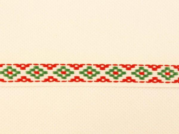 Фото 4 - Лента отделочная жаккардовая  белый/красный/зеленый 15мм.