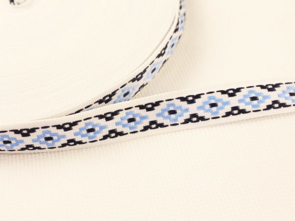 Фото 3 - Лента отделочная жаккардовая  белый/синий/голубой15мм.