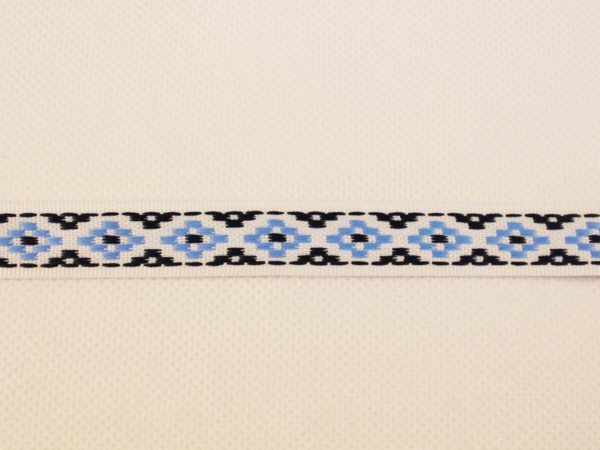 Лента отделочная жаккардовая  белый/синий/голубой15мм