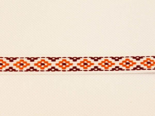 Лента отделочная жаккардовая  белый/оранжевый/бордо 15мм