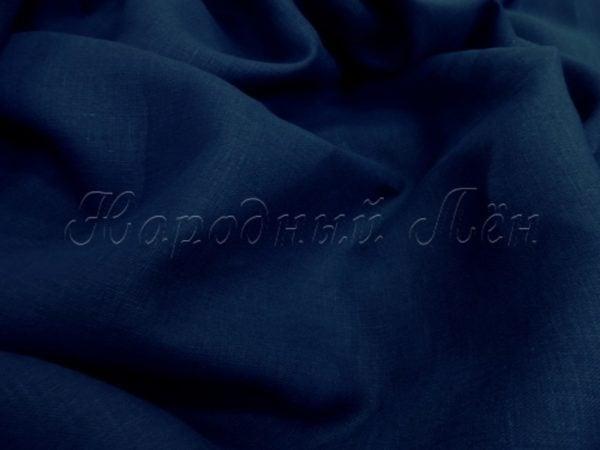 Фото 4 - Льняная ткань костюмная темно-синяя.