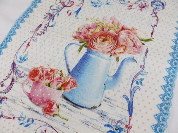 Фото 3 - Полотенце Романтика  лен 100% цвет голубой.