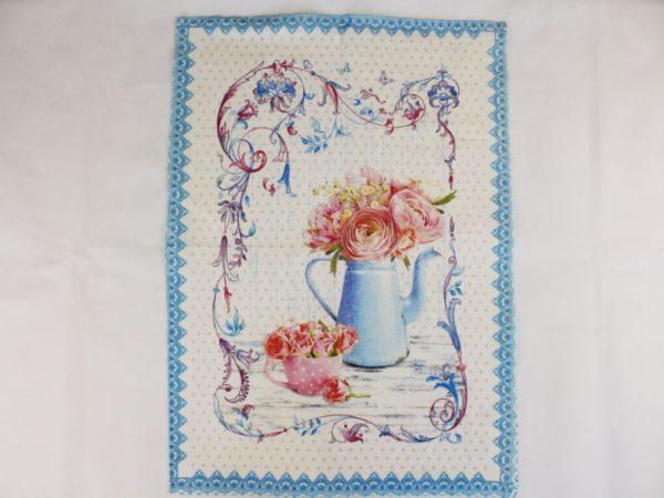 Фото 4 - Полотенце Романтика  лен 100% цвет голубой.