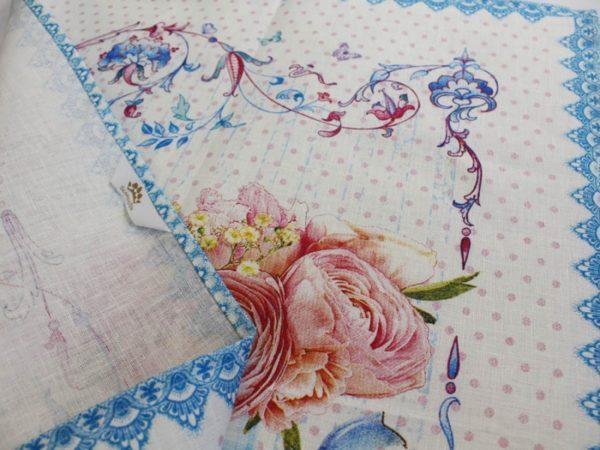 Фото 5 - Полотенце Романтика  лен 100% цвет голубой.
