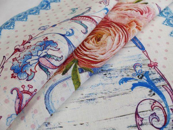 Фото 6 - Полотенце Романтика  лен 100% цвет голубой.