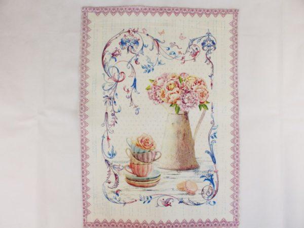 Фото 4 - Полотенце Романтика  лен 100% цвет розовый.