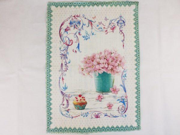 Фото 4 - Полотенце Романтика  лен 100% цвет зеленый.