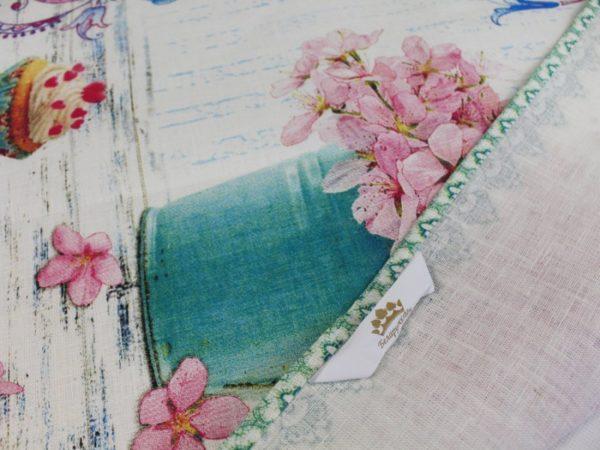 Фото 5 - Полотенце Романтика  лен 100% цвет зеленый.