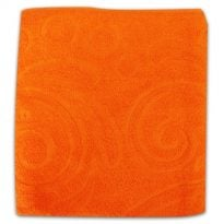 """Фото 10 - Полотенце махровое """"Завитки"""", цвет морковный."""