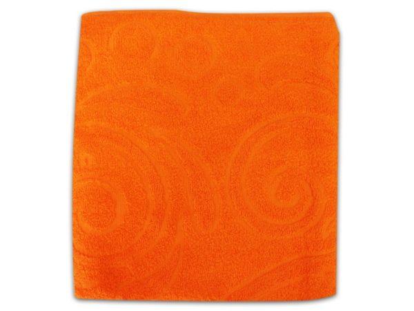 """Фото 3 - Полотенце махровое """"Завитки"""", цвет морковный."""