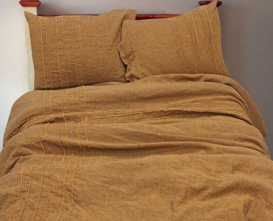 Фото 3 - Постельное белье 100% лен горчичного цвета, евро.