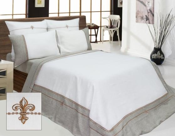 """Фото 3 - Комплект постельного белья льняной """"Анжелика"""" евро серый с белым."""