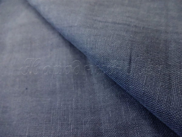 Вуаль льняная темно-синяя (полулён)