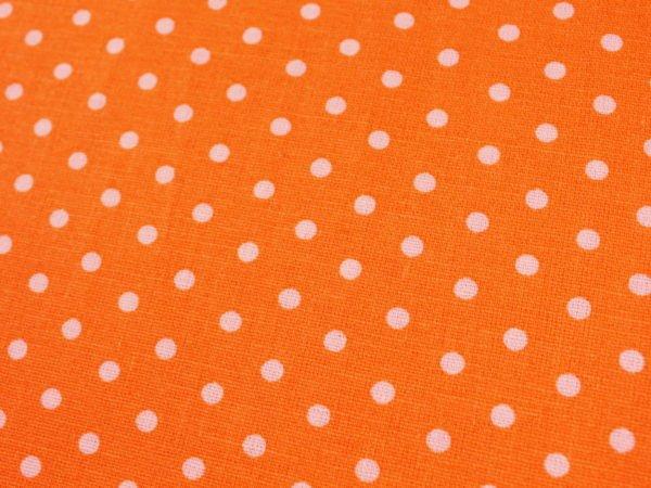 Фото 6 - Ткань льняная мелкий белый горох на оранжевом.