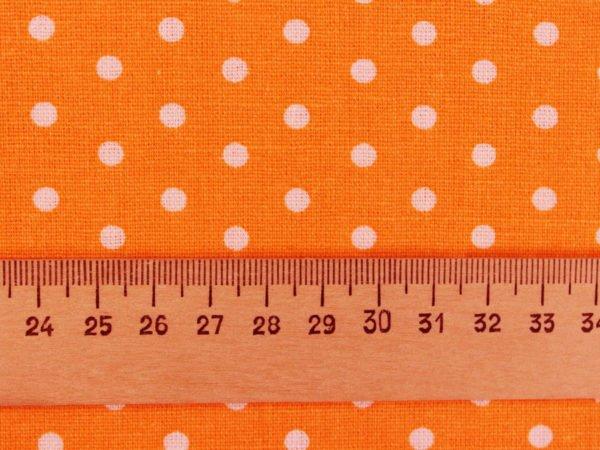 Фото 7 - Ткань льняная мелкий белый горох на оранжевом.
