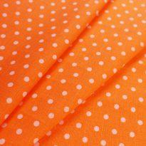 Фото 22 - Ткань льняная мелкий белый горох на оранжевом.