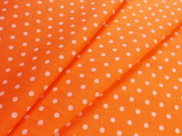 Фото 3 - Ткань льняная мелкий белый горох на оранжевом.