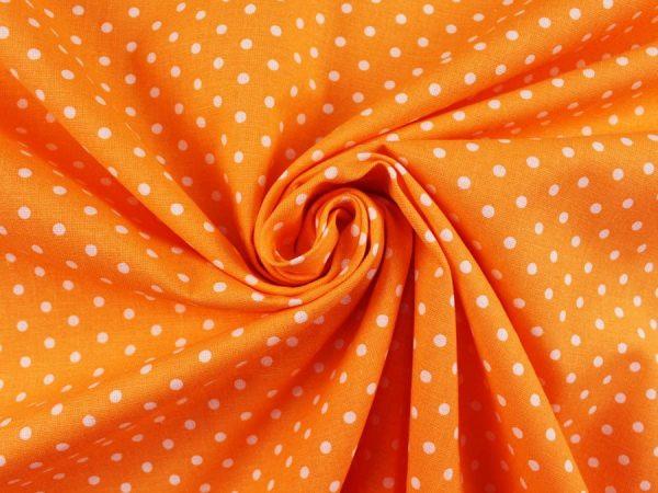 Фото 4 - Ткань льняная мелкий белый горох на оранжевом.