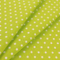 Ткань льняная мелкий белый горох на зеленом