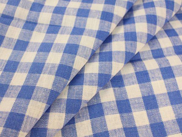 Ткань льняная сине-белая клетка, плотная