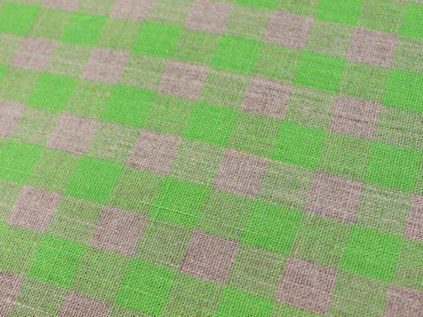 Фото 5 - Ткань льняная серо-зеленая  клетка, плотная.