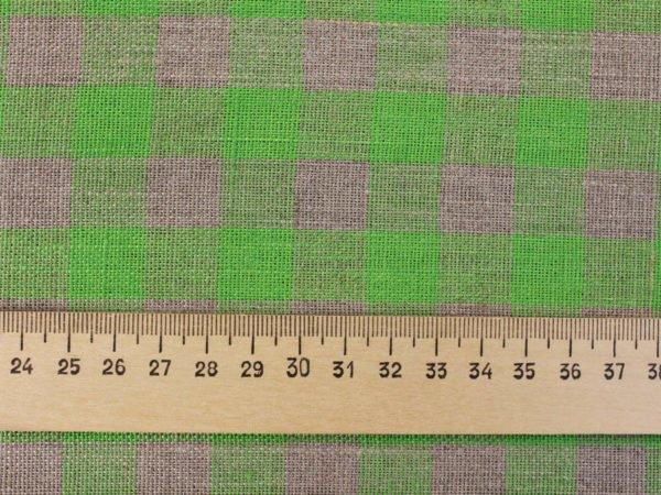 Фото 6 - Ткань льняная серо-зеленая  клетка, плотная.