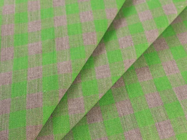Фото 7 - Ткань льняная серо-зеленая  клетка, плотная.