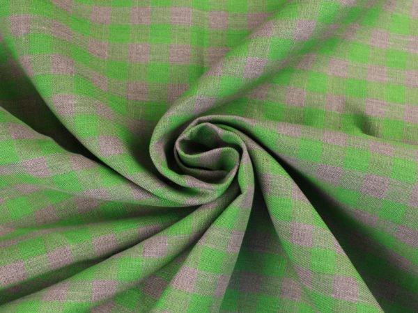Фото 8 - Ткань льняная серо-зеленая  клетка, плотная.