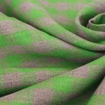 Ткань льняная серо-зеленая  клетка, плотная