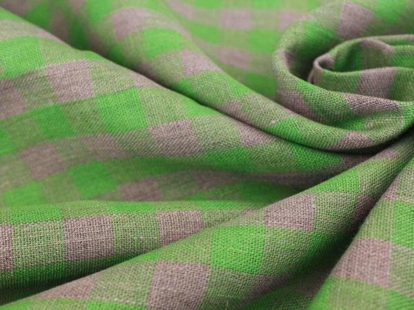 Фото 3 - Ткань льняная серо-зеленая  клетка, плотная.