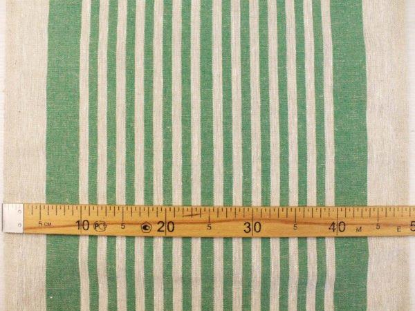 Фото 4 - Ткань льняная декоративная в полоску (зеленая).