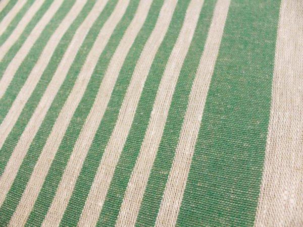 Фото 5 - Ткань льняная декоративная в полоску (зеленая).