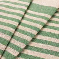 Ткань льняная декоративная в полоску (зеленая)