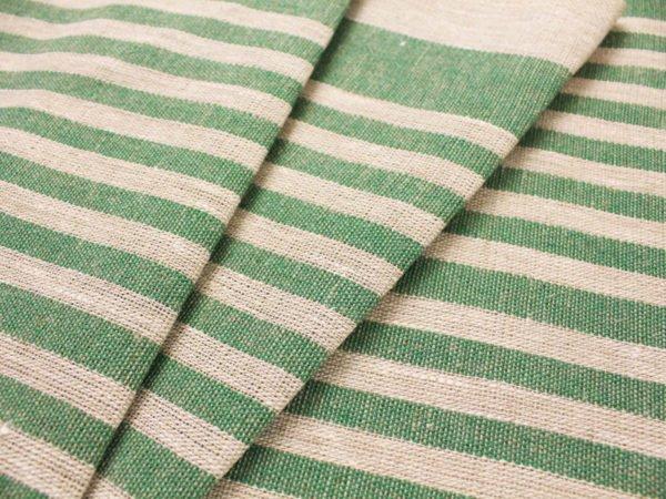 Фото 3 - Ткань льняная декоративная в полоску (зеленая).