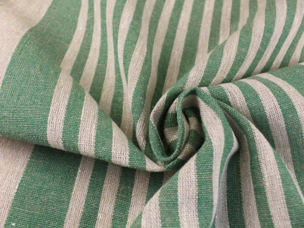 Фото 6 - Ткань льняная декоративная в полоску (зеленая).