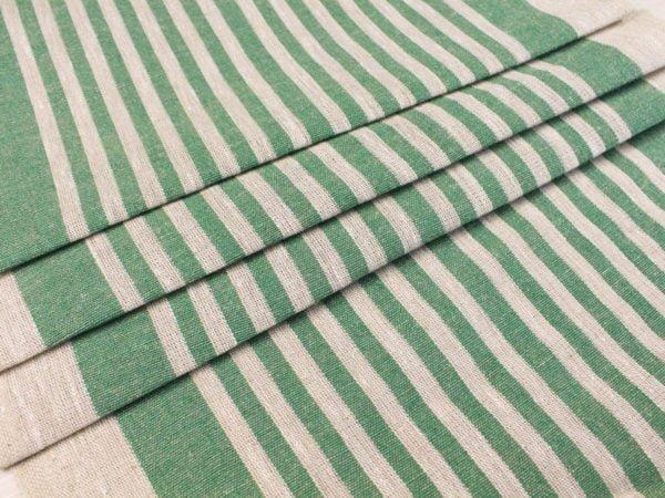 Фото 7 - Ткань льняная декоративная в полоску (зеленая).