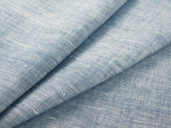 Фото 3 - Ткань костюмная меланжевая голубая.