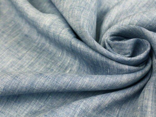 Фото 8 - Ткань костюмная меланжевая голубая.