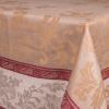 """Фото 6 - Скатерть льняная """"Французский мотив"""" цвет какао с бордовой каймой 170*170."""