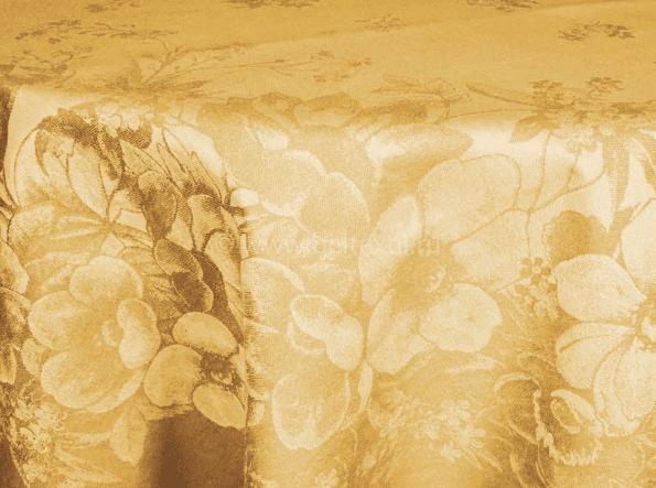 """Фото 3 - Скатерть льняная овальная  """"Фиалка"""" желтая 178*250."""