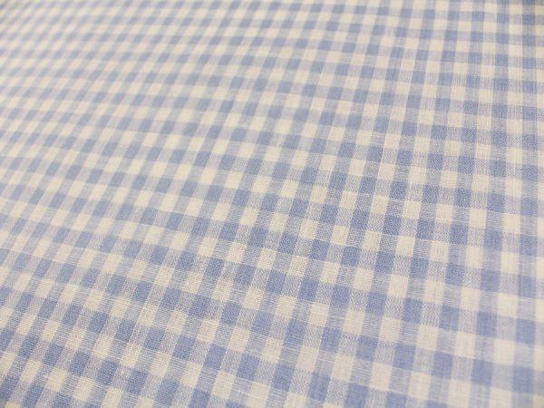 Фото 4 - Льняная ткань в мелкую голубую клетку, лен 100%.