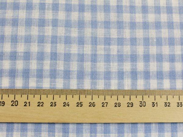 Фото 5 - Льняная ткань в мелкую голубую клетку, лен 100%.