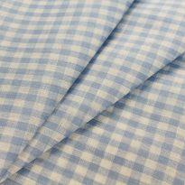 Фото 8 - Льняная ткань в мелкую голубую клетку, лен 100%.