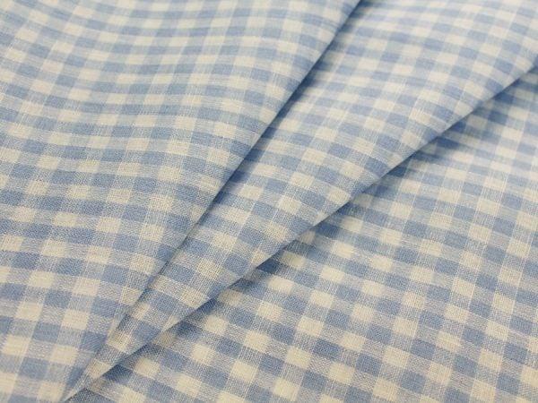 Фото 3 - Льняная ткань в мелкую голубую клетку, лен 100%.