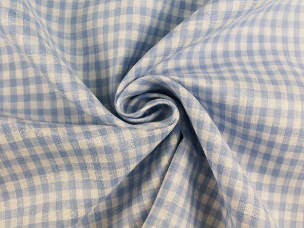 Фото 6 - Льняная ткань в мелкую голубую клетку, лен 100%.
