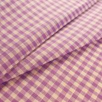 Фото 9 - Льняная ткань в мелкую фиолетовую клетку, лен 100%.