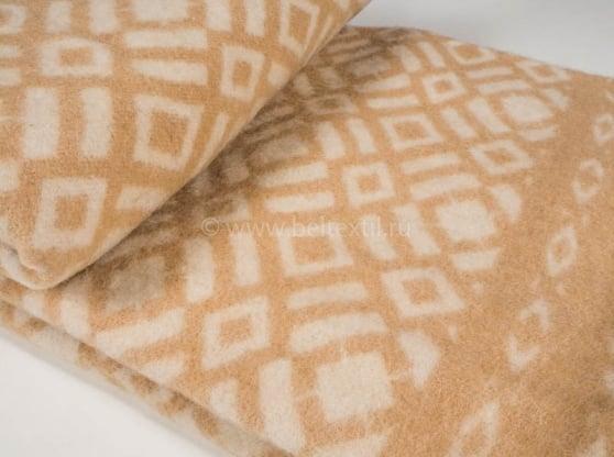 Фото 3 - Одеяло, шерстяное 170*205 жаккард, бежевое.