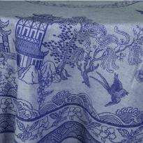 """Фото 4 - Скатерть овальная хлопковая """"Китайская"""" синяя 178*250."""