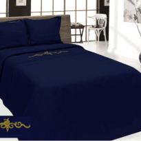 """Фото 13 - Комплект постельного белья льняной """"Винтаж"""" евро синий."""