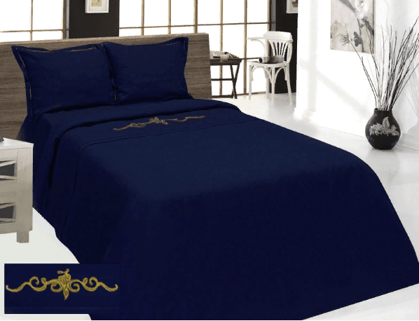 """Фото 3 - Комплект постельного белья льняной """"Винтаж"""" евро синий."""